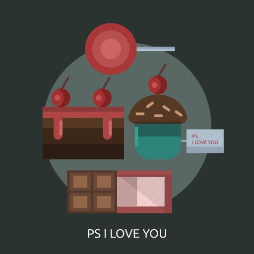 cake, candy, chocolate, i love you icon