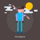 balloon, cloud, female, male, man, pickaback icon