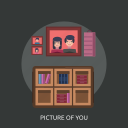 book, bookcase, pickture of you icon