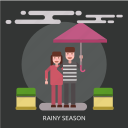 cloud, female, male, rainy season, umbrella icon