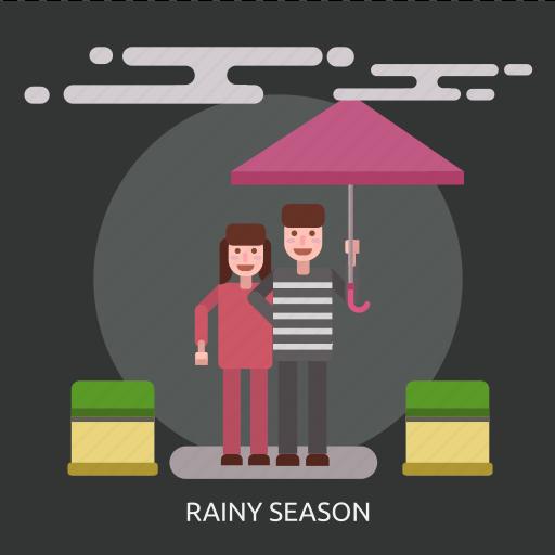 cloud, female, male, rainy season, umbrella icon