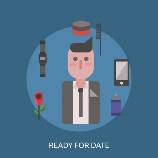 flower, male, man, perfume, phone, ready for date, watches icon