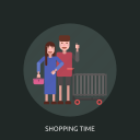 cart, female, human, male, shopping time icon