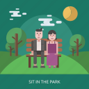 bench, cloud, female, garden, male, sit in the park, tree icon