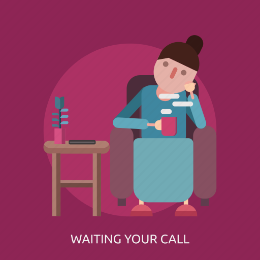 coffee, female, flower, phone, relaxed, waiting icon