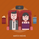 drink, female, male, popcorn, watch movie icon