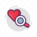 heart, love, magnifier, search, valentine icon