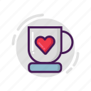 coffee, cup, glass, love, valentine icon