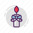 candle, ribbon, valentine icon