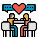 dating, dinner, love, romance, valentine icon
