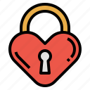 heart, key, lock, love, romance icon