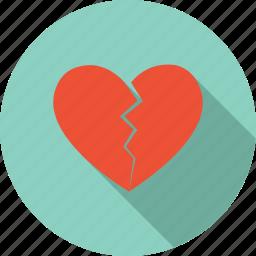 broken, heart, love sick, sad, valentine icon