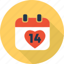 calendar, date, heart, love, romantic, valentine icon
