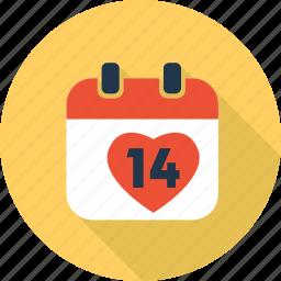 calendar, date, heart, love, romantic, valentine icon
