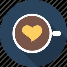 capuchino, coffe, favourite, heart, love, romance, valentine icon