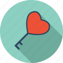 favorite, heart, key, lock, love, romantic, valentine icon
