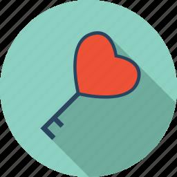 favorite, heart, key, lock, love, romantic, valentine icon