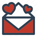 communication, email, mail, message, valentineday icon