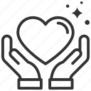 care, dating, giving, hands, heart icon