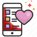 app, dating, heart, mobile, phone icon