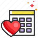 calendar, date, dating, heart, planning icon