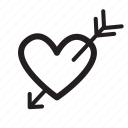 arrow, heart, love, romantic, st valentine icon