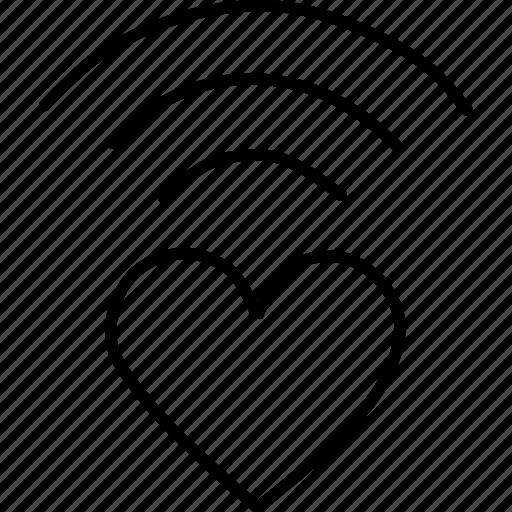 heart, love, network, romance, valentines, wifi icon