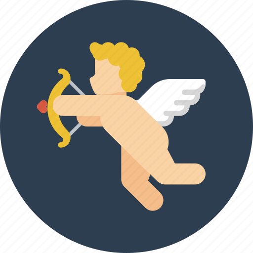 angel, arrow, cupid, falling in love, love, valentine, valentines icon