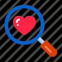 day, heart, love, romance, romantic, search, valentine, web, wedding icon