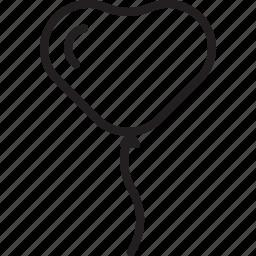 balloon, decoration, heart, love, valentine icon