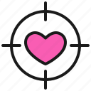 dating, love, romance, target, valentine icon