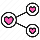 link, love, romance, share, valentine icon