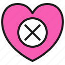 break, close, delete, love, valentine icon