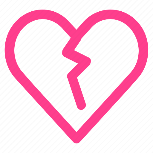 broken, broken heart, heart, hurt, valentine icon