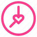 clock, heart, love, loving, valentine icon