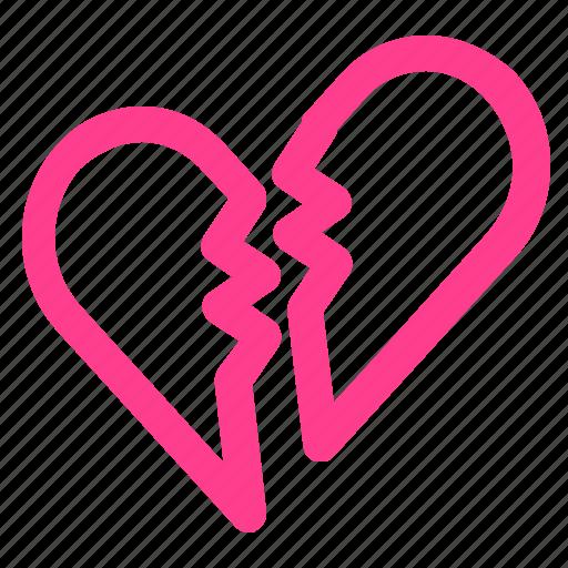 broke, heart, hurt, loving, valentine icon
