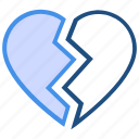 broken heart, crack, heart, love, pain, valentine's day icon