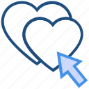 click, heart, like, love, press, valentine's day icon