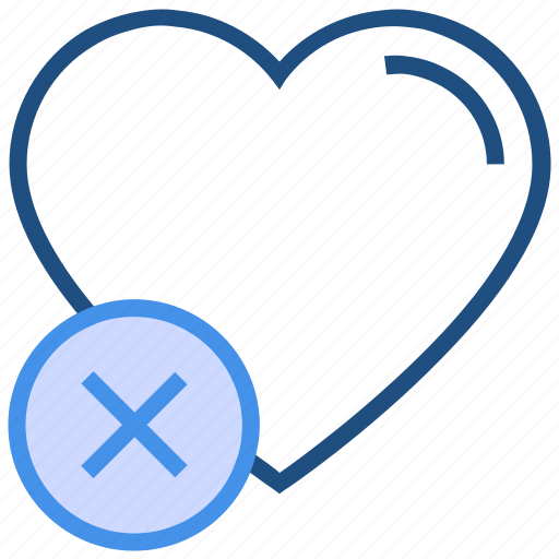 cross, heart, love, reject, valentine's day icon