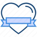 banner, celebration, heart, love, ribbon, valentine's day icon
