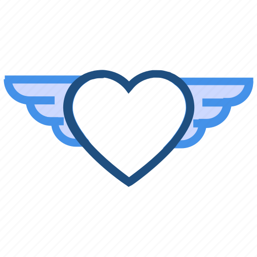 air, fly, heart, love, valentine's day, wing icon