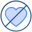 ban, hate love, heart, no, no love, valentine's day icon