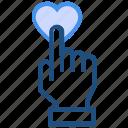 click, hand, heart, like, love, press, valentine's day icon
