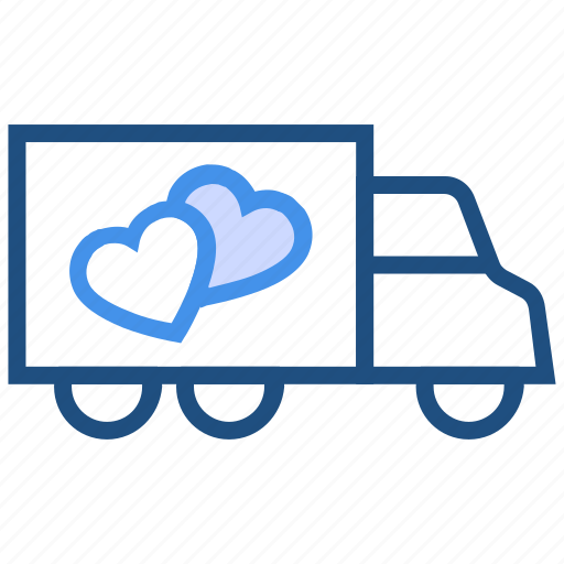 delivery, gift, heart, love, transport, truck, valentine's day icon