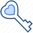 dating, heart, heart key, key, love, romance, valentine's day icon