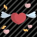 heart, love, romantic, valentine, wing icon
