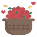 basket, decorate, floral, flower, rose, valentine
