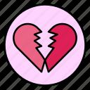 broken, heart, heartbreak, love, valentine icon