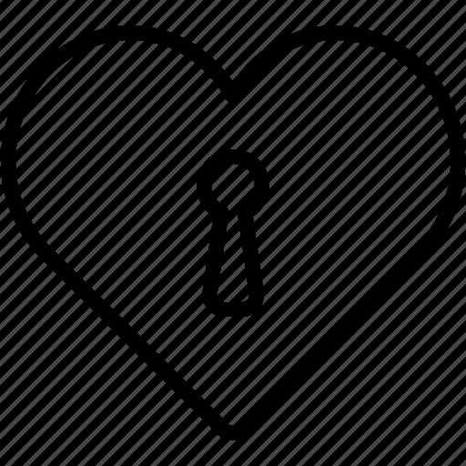 heart, key, lock, love, romance, valentine, valentine's day icon