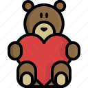 bear, gift, heart, love, peluche, valentine, valentine's day icon